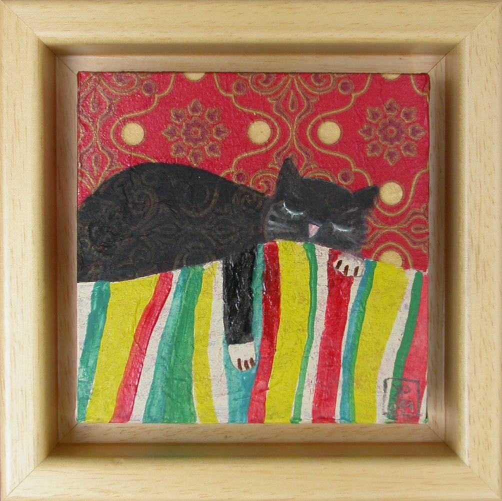 Črni muc spi, 2011, akril na lesu, 14,5 x 14,5 cm, 90 eur,