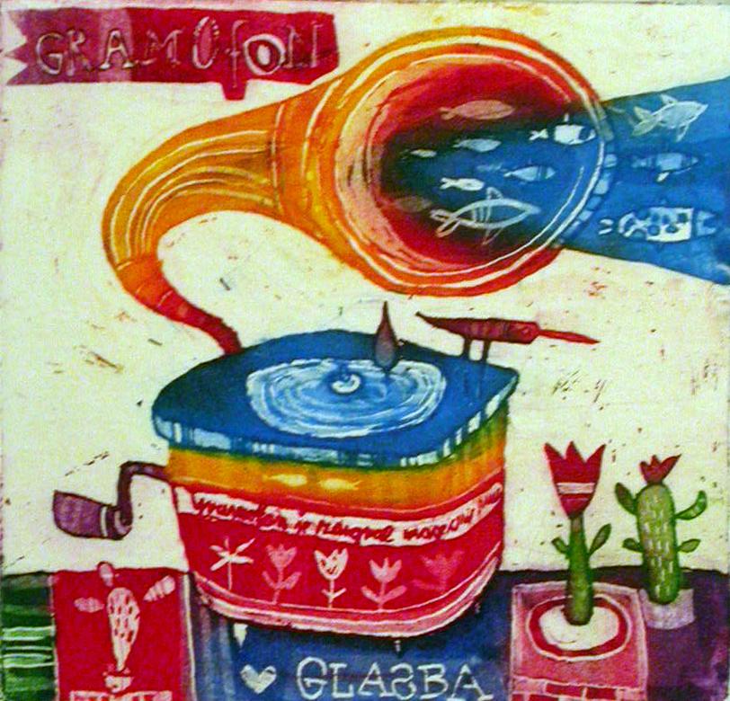 Gramofon, 8x8,5 cm, (cena 25 eur)