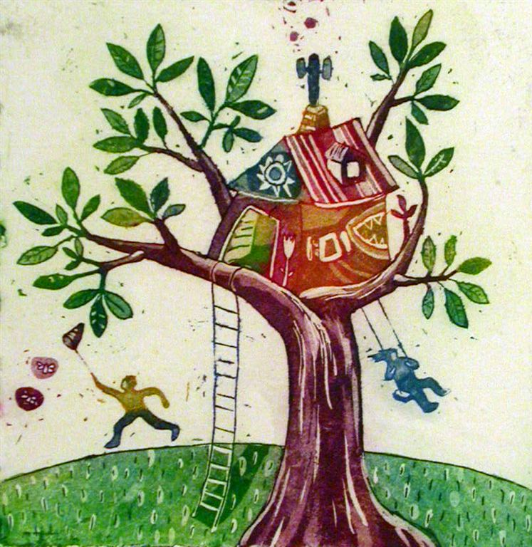 Hisica na drevesu, 9,5x9,5 cm, (cena 27 eur)