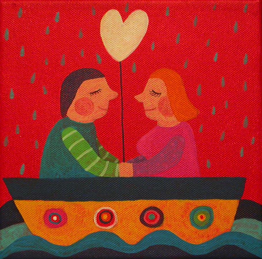 Ljubezen na morju, 20x20 cm, akril, 2010, (cena 120 eur)