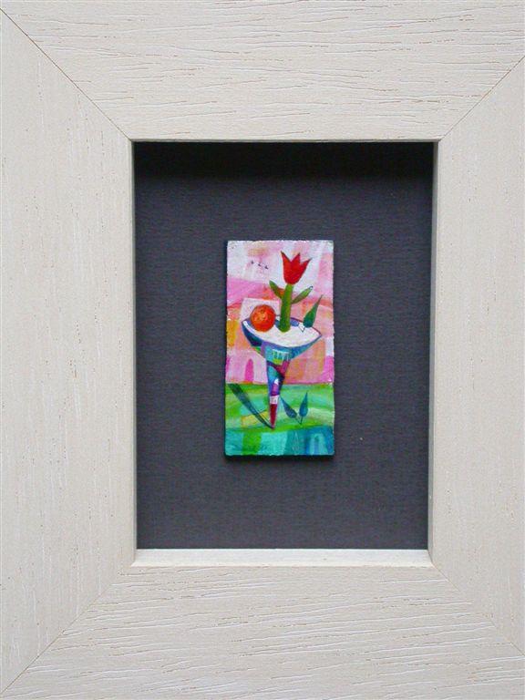 Miniaturna slika, akril na lesu, 1,5x4 cm, cena 35 eur