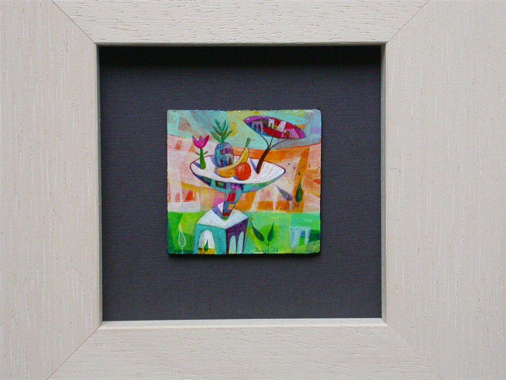 Miniaturna slika, akril na lesu, 3,5x3,5 cm, prodana