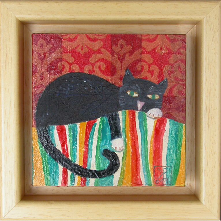 Muc počiva, 2011, akril na lesu, 14,5 x 14,5 cm, 90 eur,