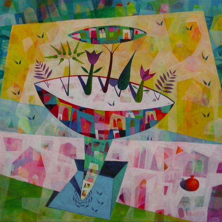 Na trgu, 100x100 cm, akril, 2011, Mizica pogrni se, 30x50 cm, akril, 2010, prodana