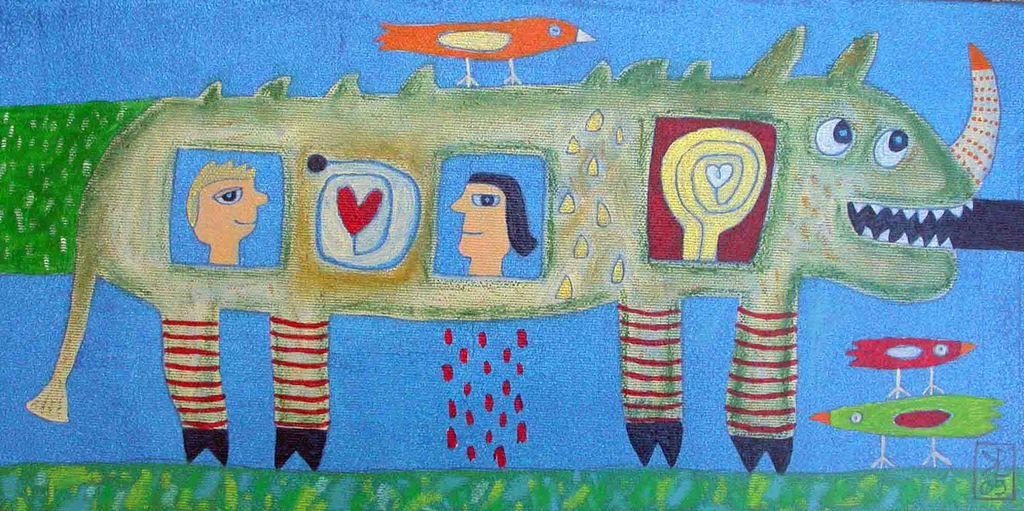 Nosorog, 20x40, akril - pastel, 2009 (cena 180 eur)