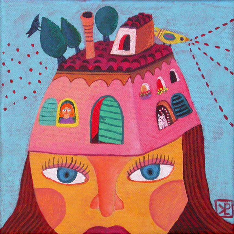 Pravljica o hišici, 20 x 20 cm, akril, 2010, (cena 130 eur)