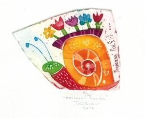 Prijazni polžek, 6,5 x 5 cm, 2014, cena 17 eur