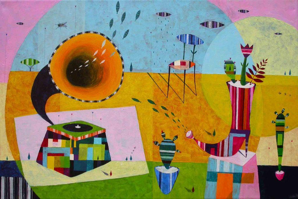 Prisluhni gramofonu, 40x60 cm, akril, 2008, Slovenija odprta za umetnost