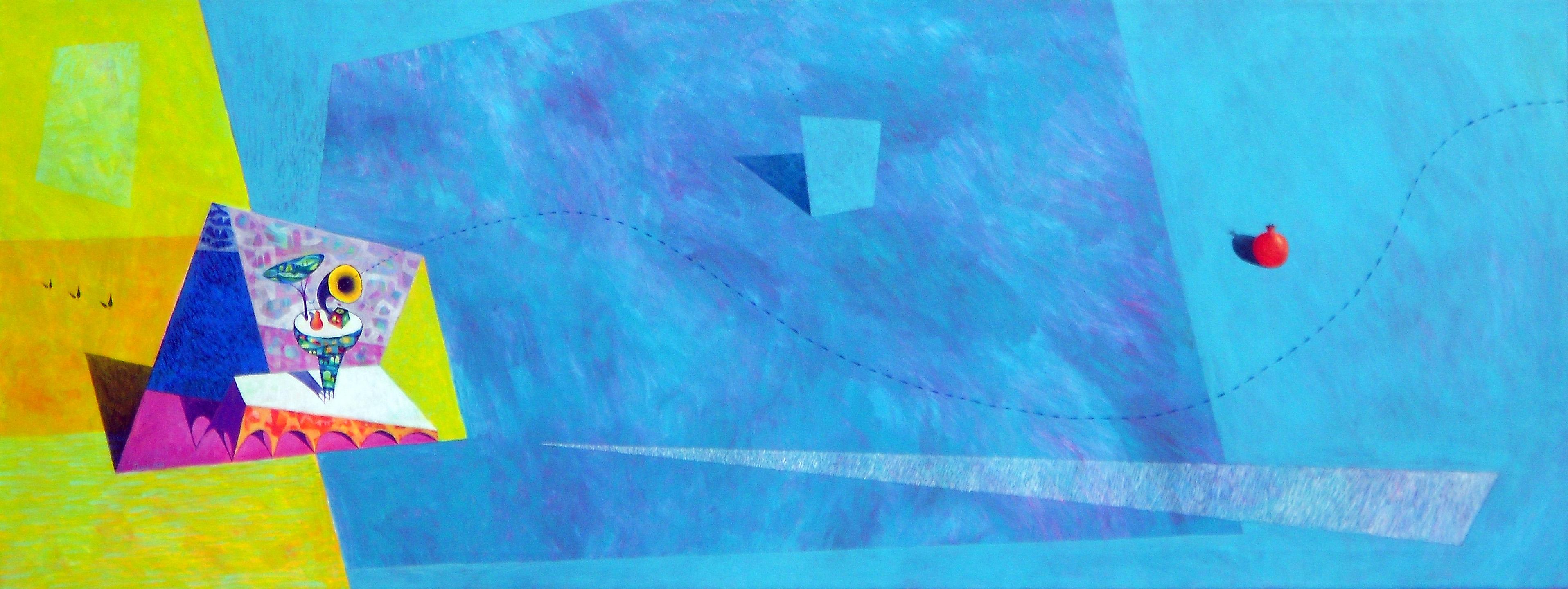 Velika modrina, 54 x 145 cm, akril, 2013, cena 1500 eur