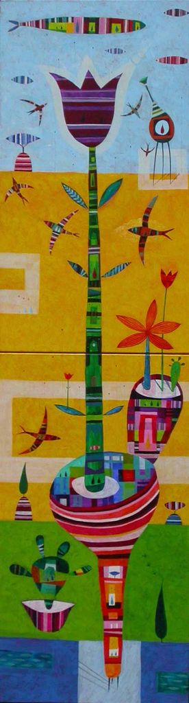 Vstal je tulipan, 180x50, akril na platnu, 2007, prodana