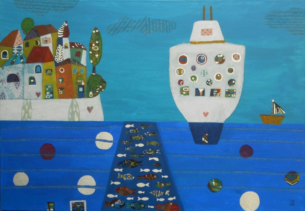 Biseri morja, 70 x 100 cm, akril, dekopaž, 2013, PRODANA