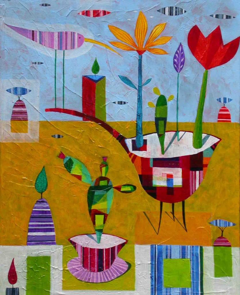 Cvetlicni gaj, 50x40cm, akril, 2007 - naprodaj v galeriji Artes