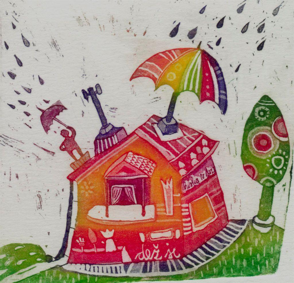 Dež je, 9x9 cm, 2010, (cena 25 eur)