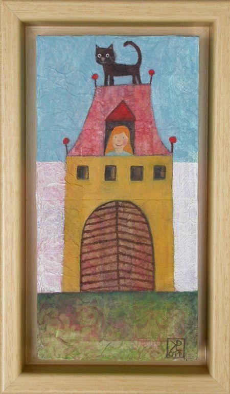Mačja hiša, 2011, akril na lesu, 14,5 x 24,5 cm, 120 eur,