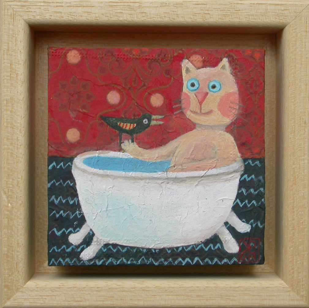 Mačja kopel, 2011, akril na lesu, 14,5 x 14,5 cm, 80 eur,