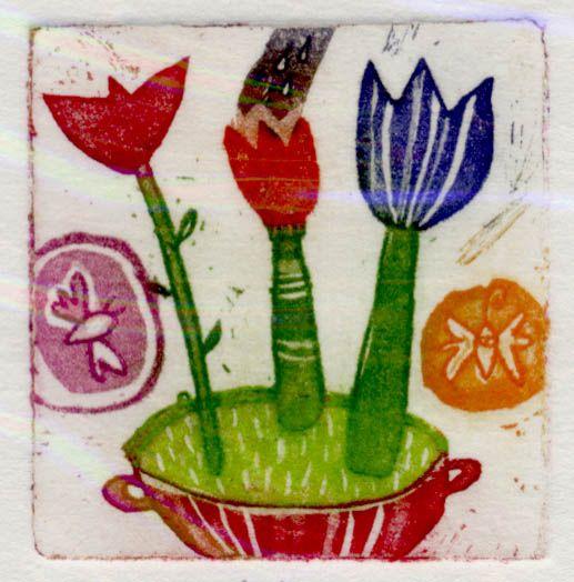 Med tulipani, 4x4cm, 2006 (cena 14,50 EUR)
