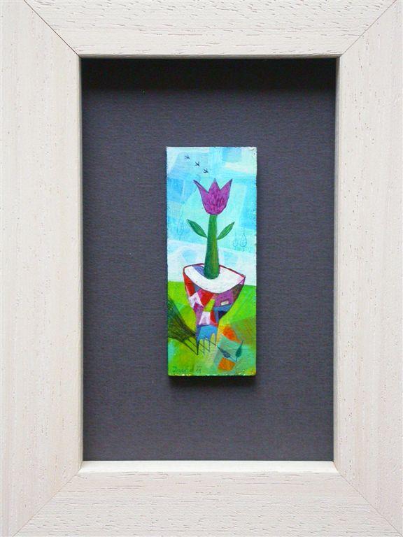Miniaturna slika, akril na lesu, 2x3,6 cm, cena 50 eur