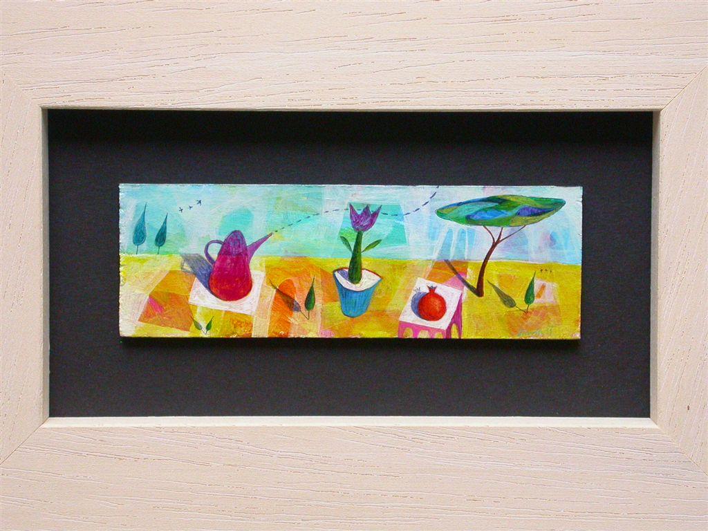 Miniaturna slika, akril na lesu, 3,5x12 cm, prodana