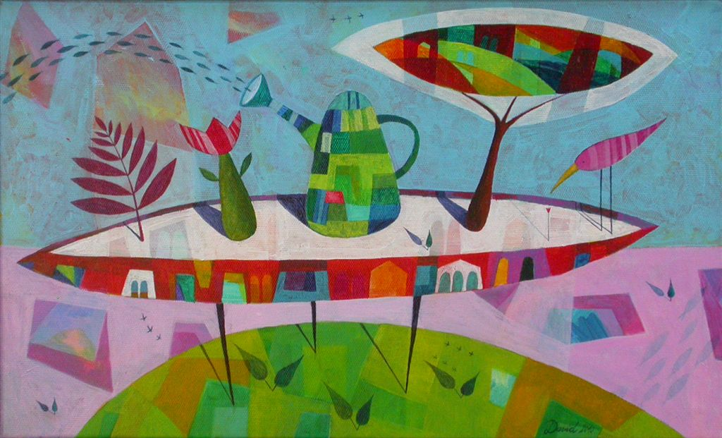 Mizica pogrni se, 30x50 cm, akril, 2010, prodana