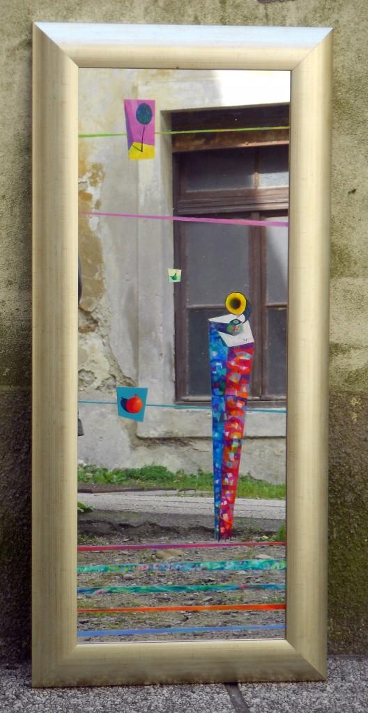 Ogledalo, 108 x 50 cm, akril na ogledalu, 2013, cena 600 eur