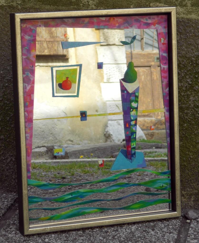 Ogledalo, 49 x 39 cm, akril na ogledalu, 2013, ni naprodaj