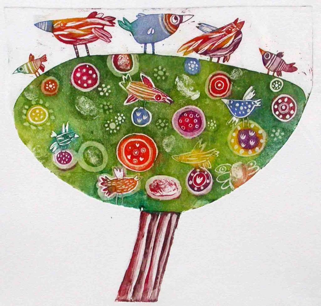 Ptice na drevesu, 22x22cm, 2003 (cena 75 EUR)