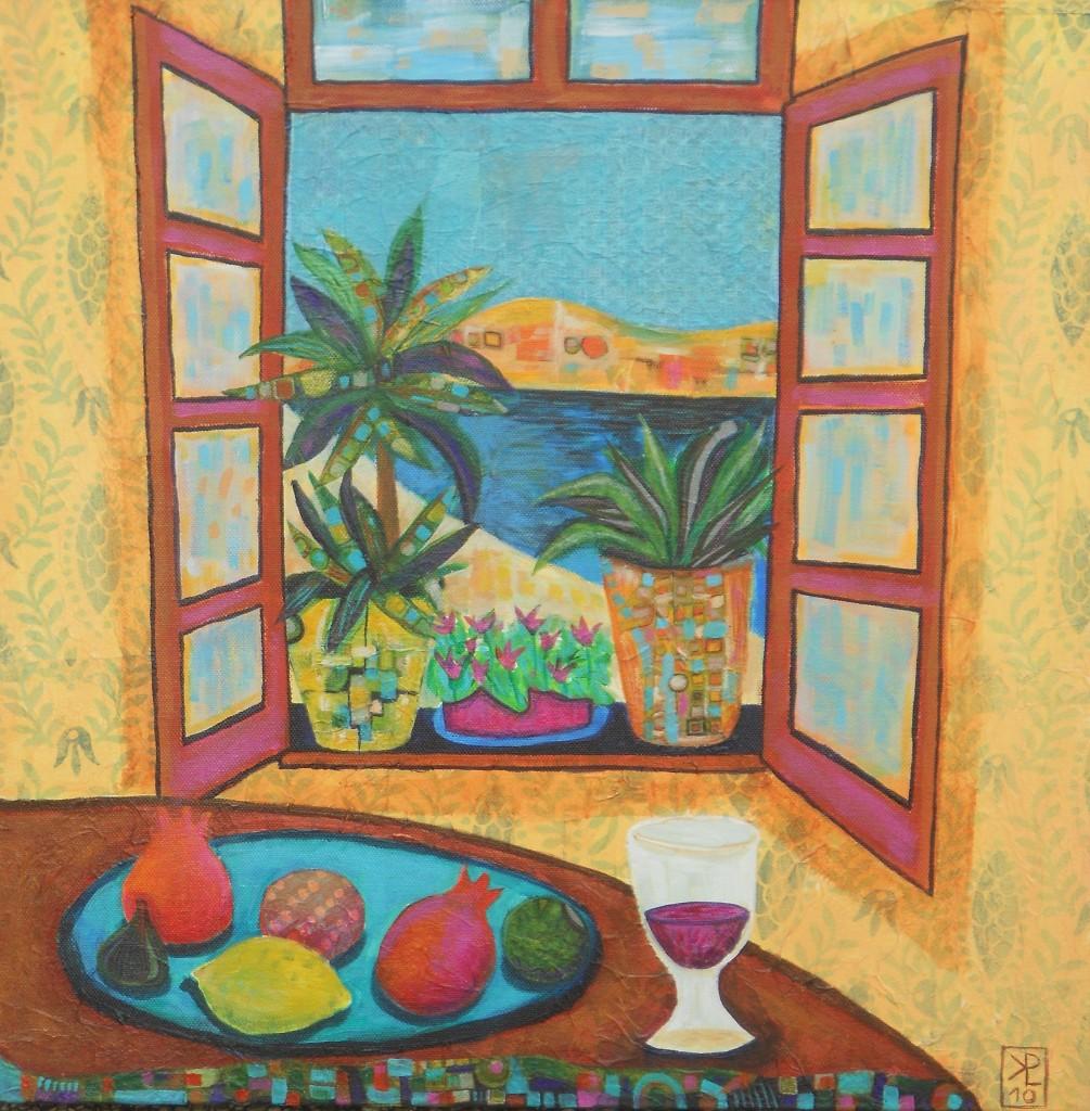 Skozi okno, 50 x 50 cm, akril, dekopaž, 2010, PRODANA