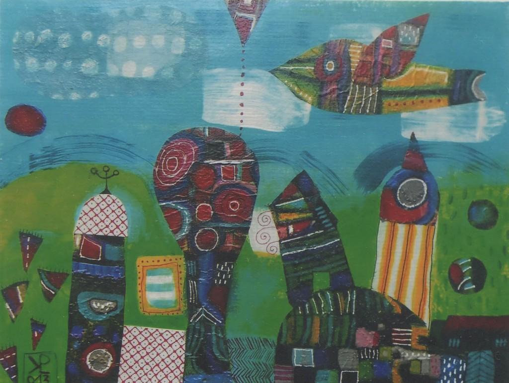 Dežela mojih sanj, akril, dekopaž, 2013