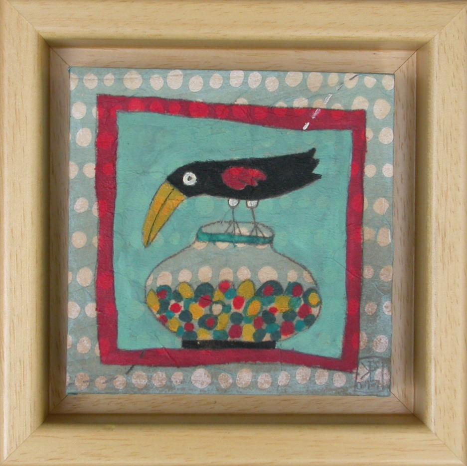 Sladkosnedna vrana, 2011, akril na lesu, 14,5 x 14,5 cm, 90 eur,