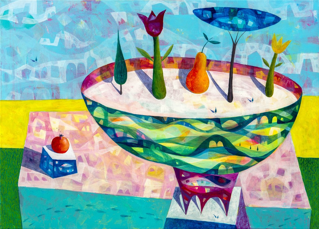 Pomlad v lončku, 50x70, akril, 2014, PRODANA